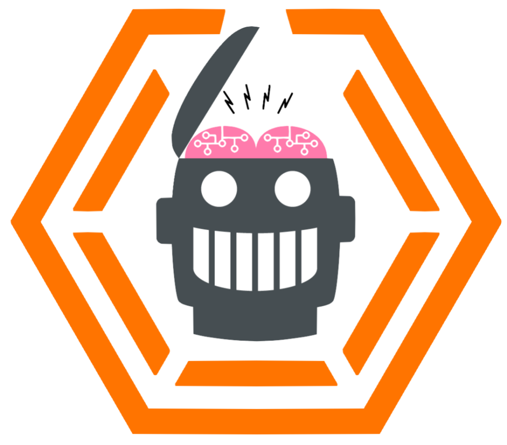 Robot Logo centered in hexagon